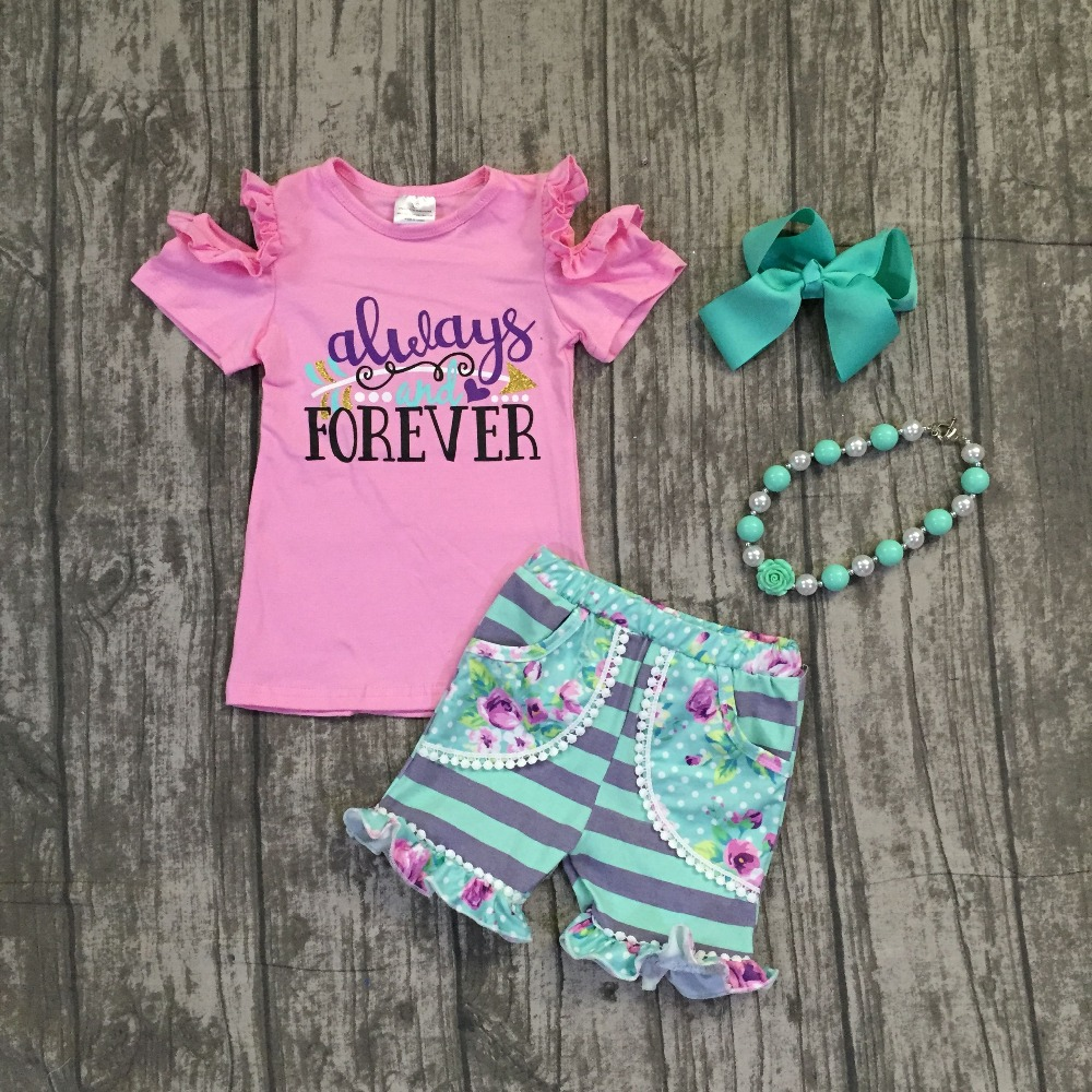 Summer baby girls mint pink pom-pom shorts flower always and forever off shoulder clothing stripe boutique matching accessories pink solid color off shoulder crop bodycon sweaters vests