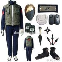 Naruto Hatake Kakashi cosplay costume full set include shoes+ kunai +headband+leg &waist bag+mask+glove Halloween costume