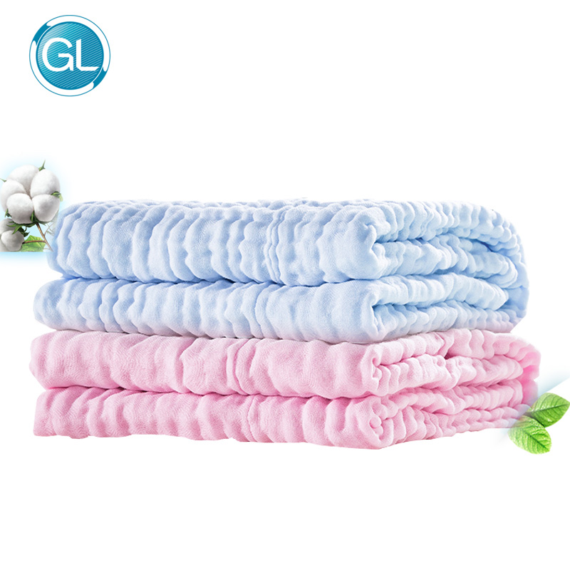 GL 100% Cotton Newborn Baby Bath Towel Baby Face Beach Shower Towel Wraps Soft Thick 6 Layers Childrens Towel Water Absorption