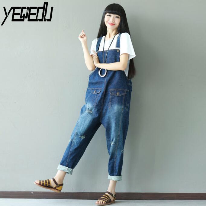 #0318 2019 été déchiré Jeans combinaison femmes Vintage grande taille Denim salopette pour femmes jarretelle combinaison dames lâche