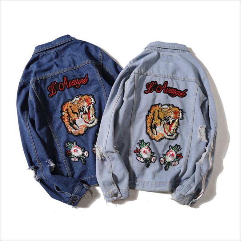 Men's Streetwear Oversize Embroidered tiger head Patch Holes Denim jacket Patch Designs Ripped Washed Jacket for men BigBang