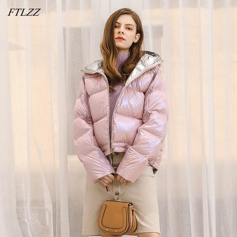 FTLZZ Winter Jacket Women Silver Golden Duck   Down     Coat   Waterproof Zipper Outerwear Lady Loose Hooded   Down   Parkas Short   Coat