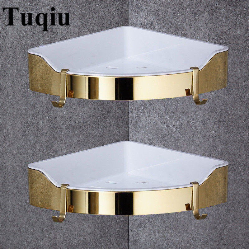 Corner shelf golden stainless steel abs bathroom shelves - Bathroom shelves stainless steel ...