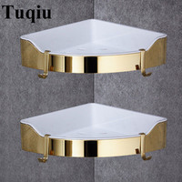 Corner Shelf Golden Stainless Steel + ABS Bathroom Shelves Chrome Wall Mount triangle Shower Caddy Rack Bath Accessories
