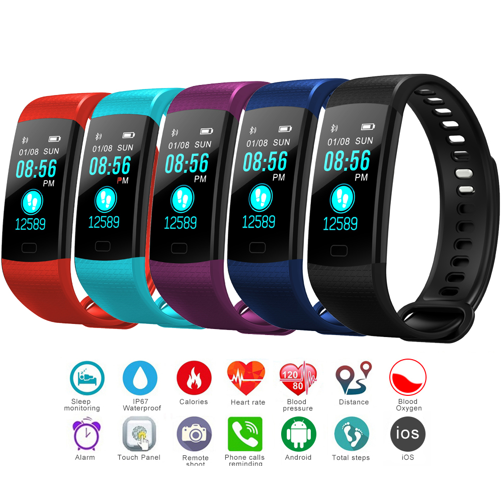 Y5 Smart Wristband Heart Rate Blood Pressure Monitor Tracker Fitness Tracker Smart Bracelet Waterproof Smart Watch Pedometer