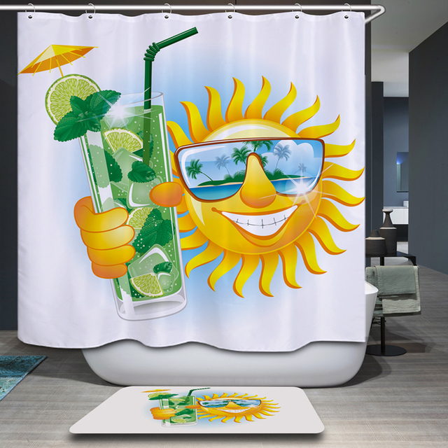 Smiry Funny Sun Shower Curtain Waterproof Polyester 180x180cm 12 Hooks  Pastoral Pattern Sea View Bathroom Curtains