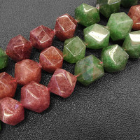 Faceted Green & Pink Cherry Quartz Beads Natural Stone Beads For Jewelry Making beads 15'' Needlework DIY Beads Trinket