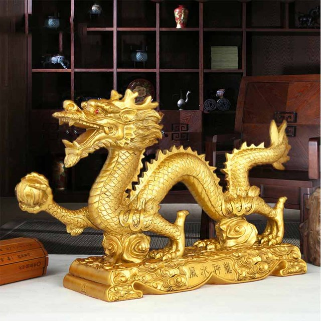 Family feng shui ornaments Imitation copper lucky town house home crafts decorations gold dragon ornaments 1