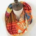 Мода геометрическая петли шаль зимних женщин красочные Zig Zag кольцо шарфы женский шеврон плед бесконечности шарф полосы обернуть
