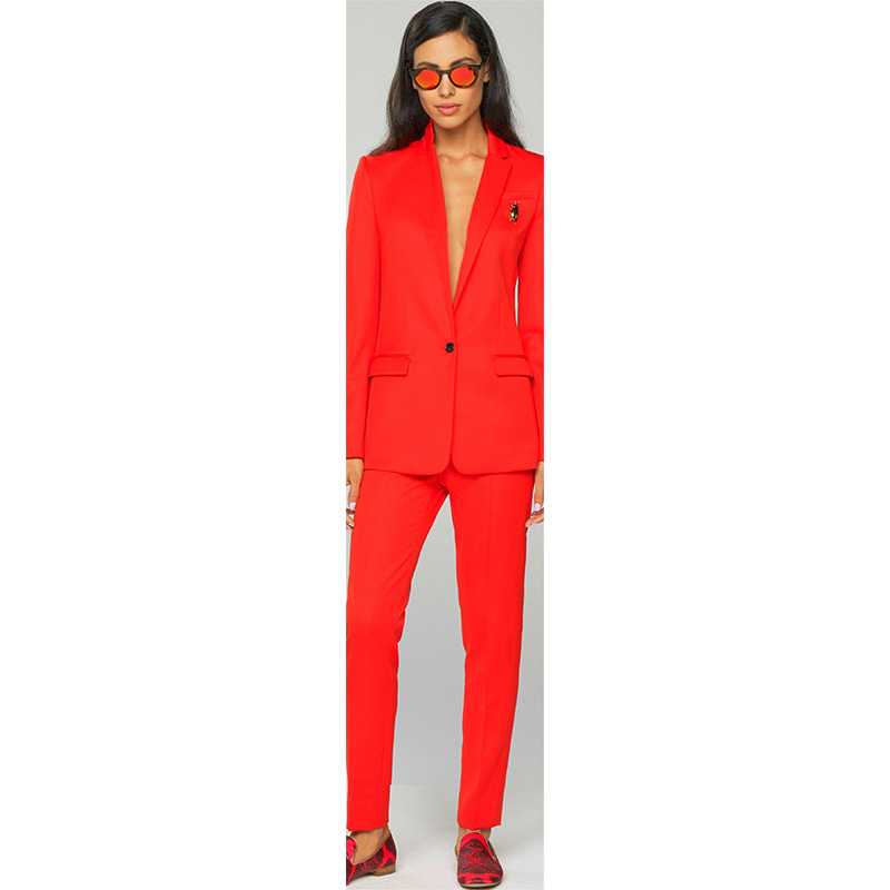 Jacket+Pants Women Business Suits Work Red 2 Piece Female Office Uniform Ladies Formal Trouser Suit Single Breased Custom