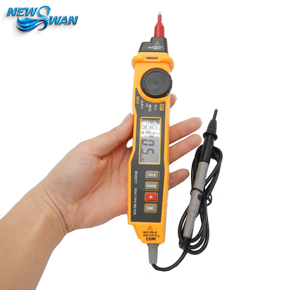 Pen type Digital Multimeter Non contact DC / AC Voltage Current Meter Detector Data Hold Multimeter MS8211 free shipping mastech ms8211 portable pen type multimeter meter auto range digital multimeter non contact ac dc voltage detector