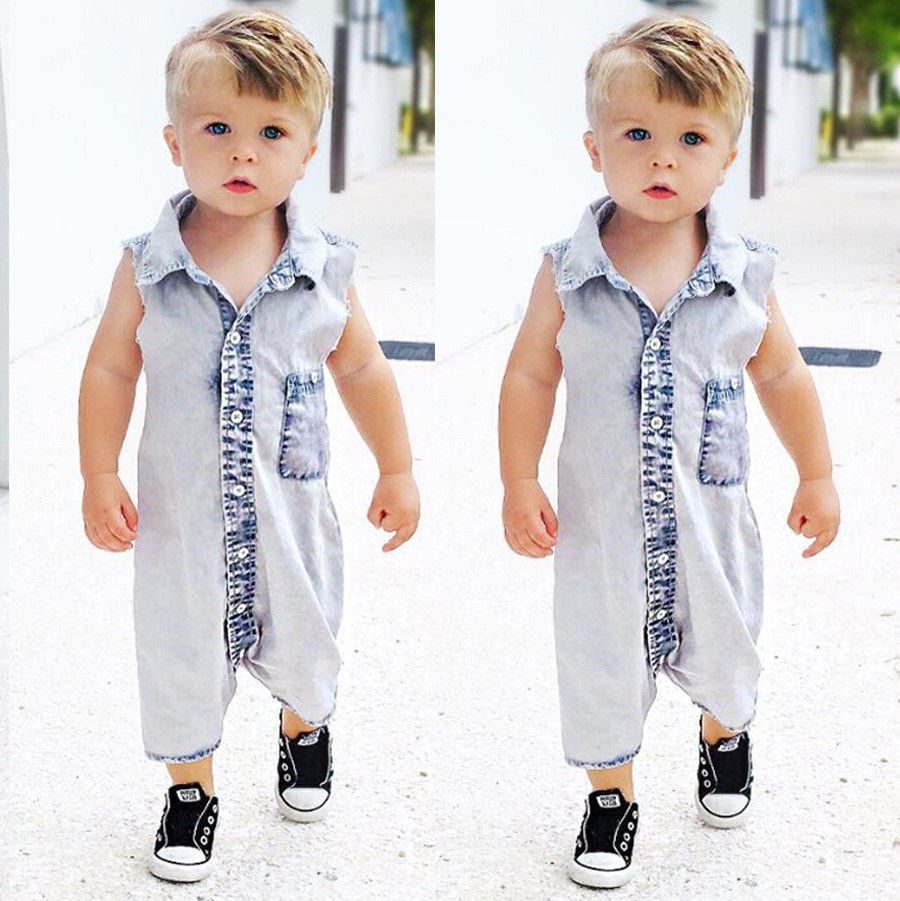 b3f97f7e6dc6 Summer Newborn Baby Romper Denim Blue Sleeveless Turn down Collar ...