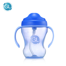 лучшая цена 260ml Baby Bottle Silicone Sippy Kids Cup Children Training Cups with Straw Handle Cute Baby Drinking Water Cup Feeding Bottle