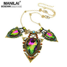 Hot Indian Style Fashion Long Chain Vintage Bright Big Coloured Glaze Crystal Pendants Statement Necklaces Brand Jewelry CE1017(China)