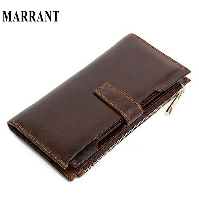 MARRANT Long Wallet Genuine Leather Wallets Clutch Card Holder Coin Pocket Male Purse Leather Purse Wallet Men Wallets Clutches
