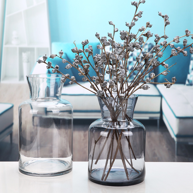 Simple Rose Hydroponics Glass Vase Figurines Floral Artwork European Style Living Room Restaurant Table Decorations Wedding Gift