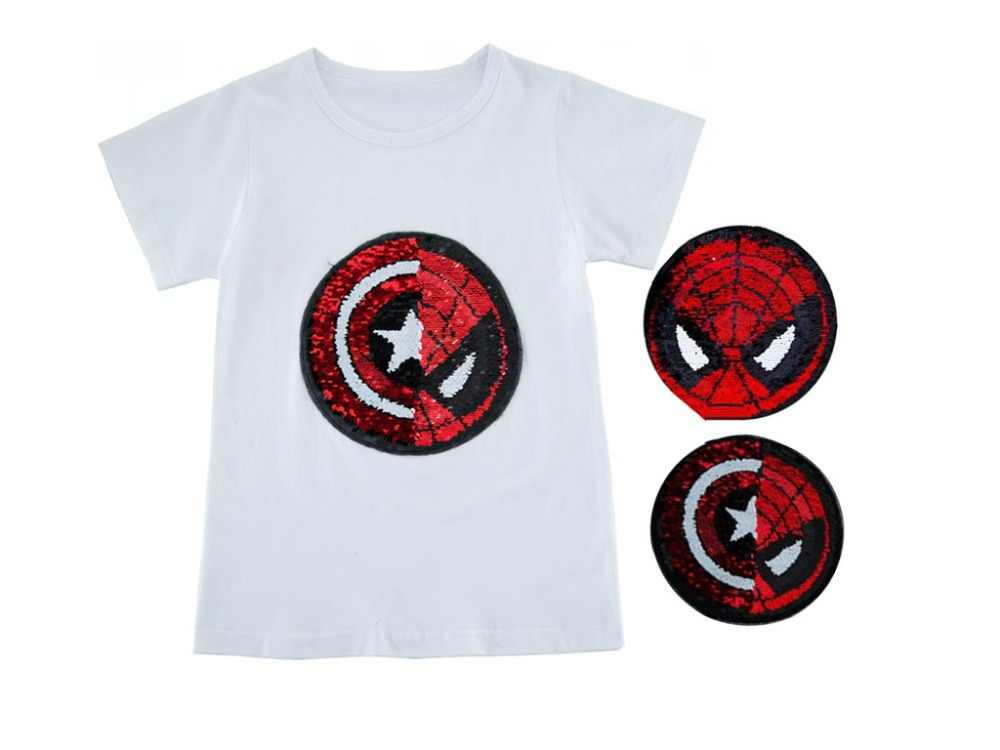 f81586a1 ... Boys Tee Shirt Summer Spiderman Captain Heart Flipped Sequin Boys  Glitter T Shirt 3- 10 ...