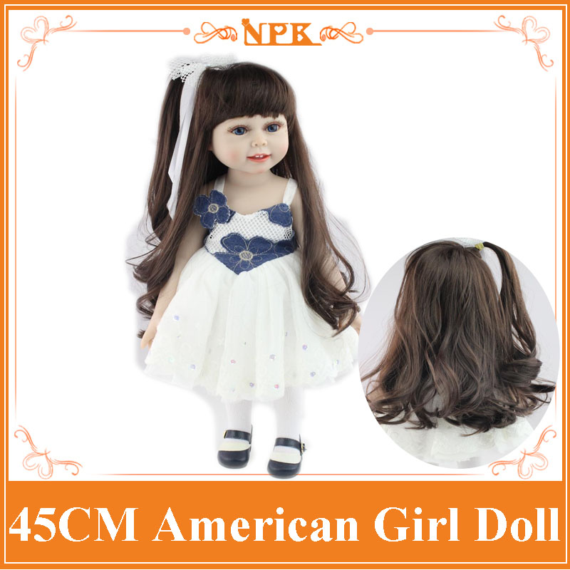 18Inch American Girl Doll with Long Straight Hair in One-Piece Dress Lifelike Silicone Baby Doll Baby Toys Girls Gift Brinquedos new arrival 18inch doll npk american sweet girl with curly long hair in floral skirt dress bonecas bebe kids gift brinquedos