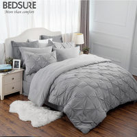 Bedsure Pinch Pleat Down Alternative 8 Pieces Comforter Set Solid Grey BED IN A BAG Comforter 2 Pillowshams