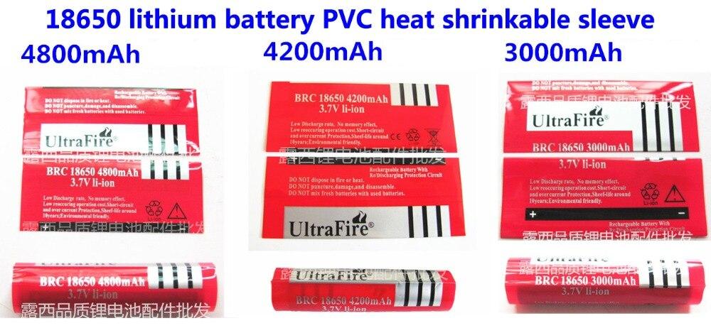 Купить с кэшбэком 100pcs/lot 18650 lithium battery package sleeve, shrink sleeve, battery cover, PVC sheath heat shrinkable film 3400MAH