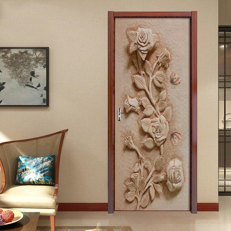 DIY Door Sticker 3D Embossed Rose Butterfly Mural For Living Room Bedroom Decor PVC Self Adhesive Waterproof Door 3D Wallpaper