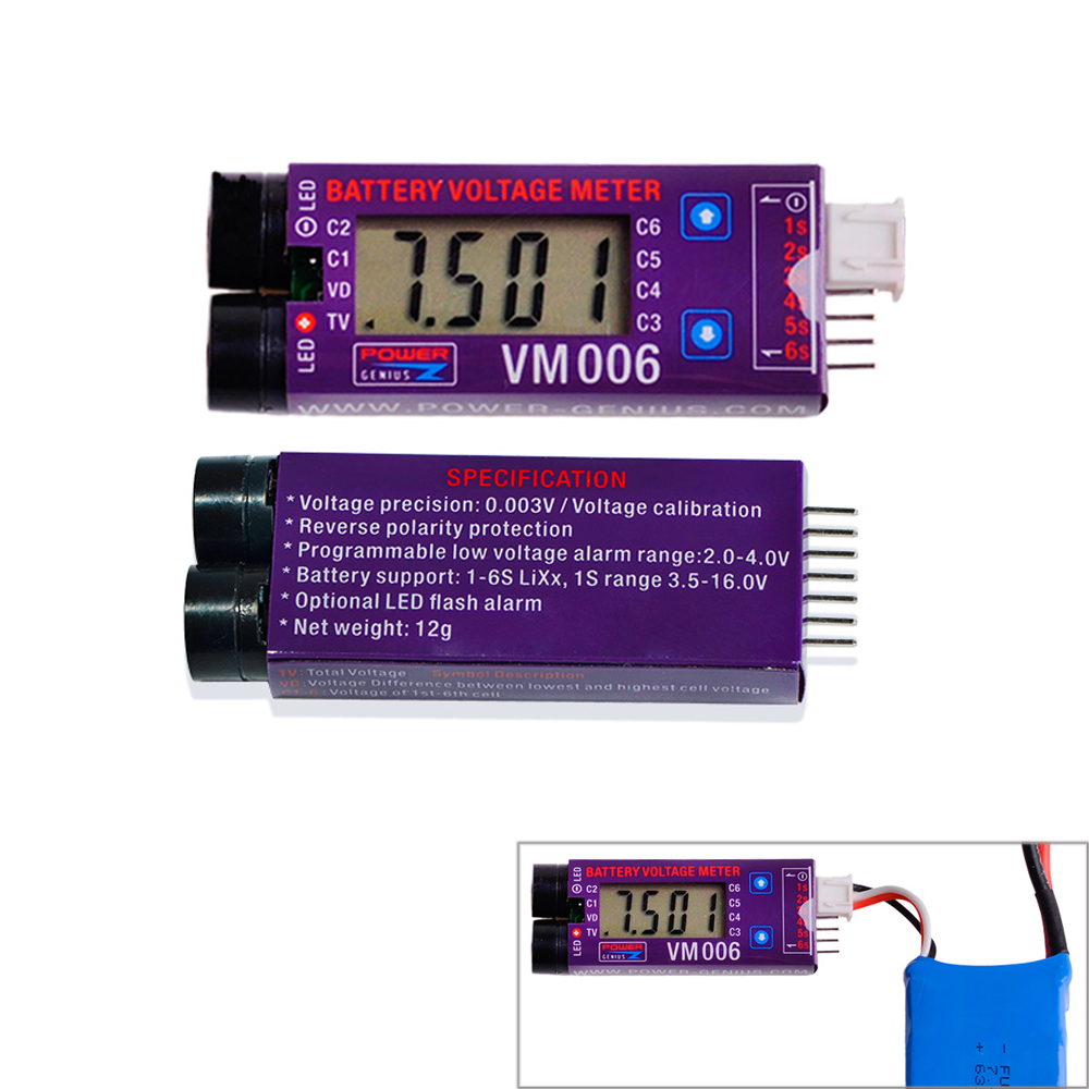 1pcs VM006 1-6S LiPo Battery Accurate Battery Voltage Meter LCD Liquid Crystal Display Alarm vm006 1 6s lipo battery accurate battery voltage meter lcd liquid crystal display alarm