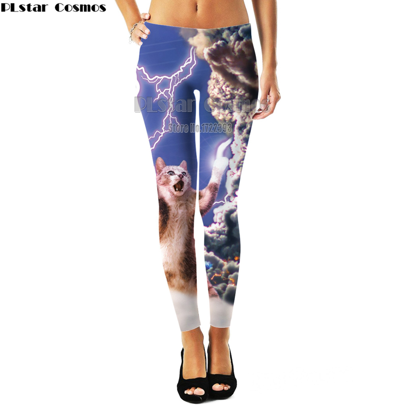 PLstar Cosmos Womens Hipster Leggings Women 3d Print Lightning Cat Leggings Workout Fitness Legging Spring Autumn Trousers