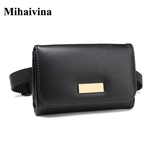 Mihaivina New Casual Black Solid Color Women Waist Bag High Quality Women Leather Belt Travel Waist Pack Pouch Phone Bag Bolosa