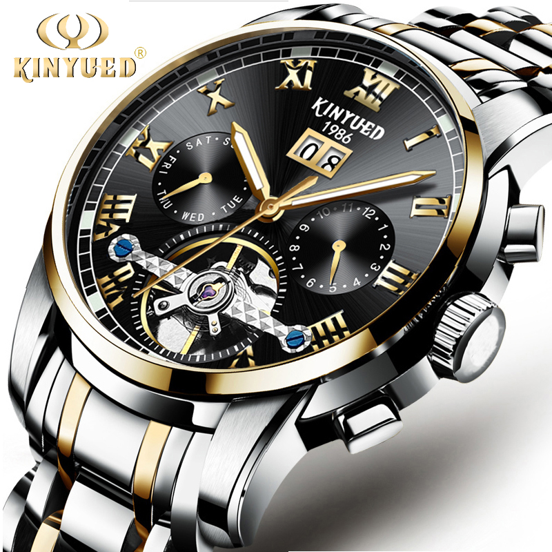 KINYUED Top Brand Mechanical Wristwatch Luxury Business Automatic Mens Watches Waterproof Stainless Steel Relogio Masculino недорго, оригинальная цена