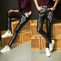 Winter Fleece Lined Sexy Black Tight Leather Pants Men Motorcycle Black Skinny Biker Trouser PU Leather Jogger For Men