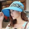 Nuevas Mujeres de La Manera Plegable UV Protección Neckguard Roll Up Sun Floral Sombrero de Playa Sombrero de Ala Ancha Sombrero de Visera Para Damas
