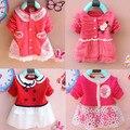 Niños ropa nueva 2016 muchachas del resorte de manga larga camiseta niñas bebé dress niños clothing dress gasa del cordón de los niños cardigan