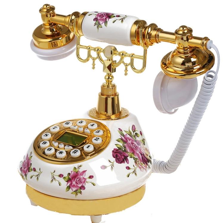 Antique ceramics Home Decor Desk telephone fashion fitted antique telephone gold Caller ID Floral telefon telefone fixo