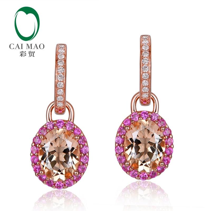 14K Rose Gold 3 66CT Oval Cut Morganite Natural Diamond pink Sapphires Engagement Drop Earrings