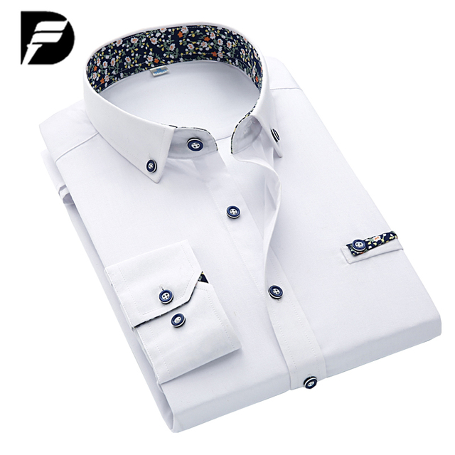 Heren Overhemd Met Manchetknopen.Nieuwe Collectie Casual Shirt Mannen Franse Manchet Maat Slanke