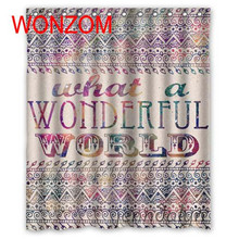 WONZOM New Polyester Fabric Wonderful World Shower Curtains with 12 Hooks For Bathroom Decor Modern 3D Bath Waterproof Curtain