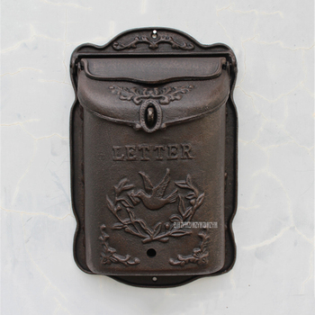 Rural Style Heavy Duty Wall Mounted Cast Iron Mailbox Metal Mail Box Newspaper Letter Post Box Rustic Postbox Gardon Yard