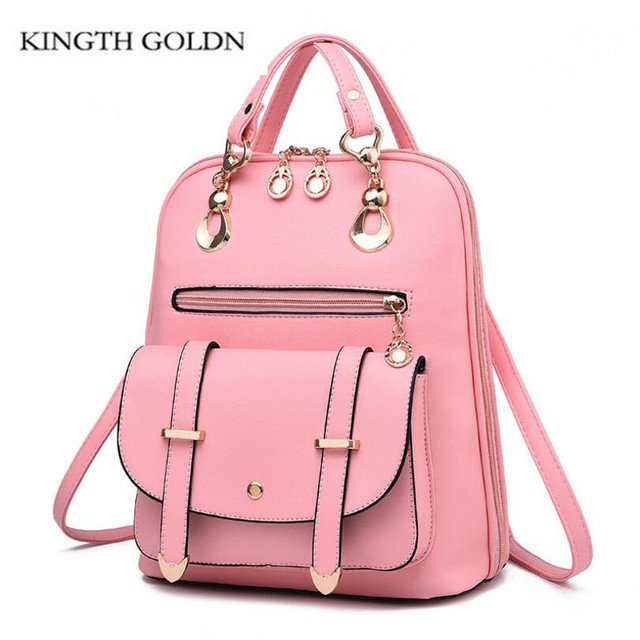 KINGTH GOLDN High Quality Women Backpacks Fashion Causal School Bags Travel  Shoulder Bag PU Leather Girls Backpacks Female 9993c95fe5