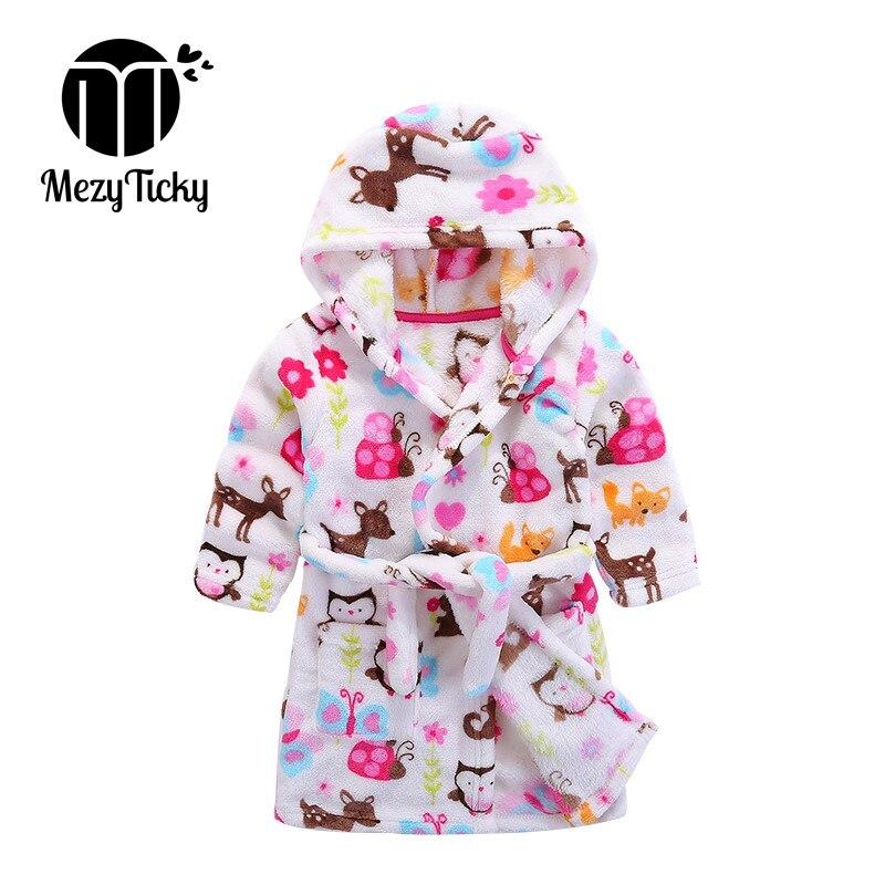 Top quality Baby Boys Bathrobe Children Cartoon Clothing Kids Robes Flannel infant Girls pajamas Lovely Animal Hooded Bath Robes