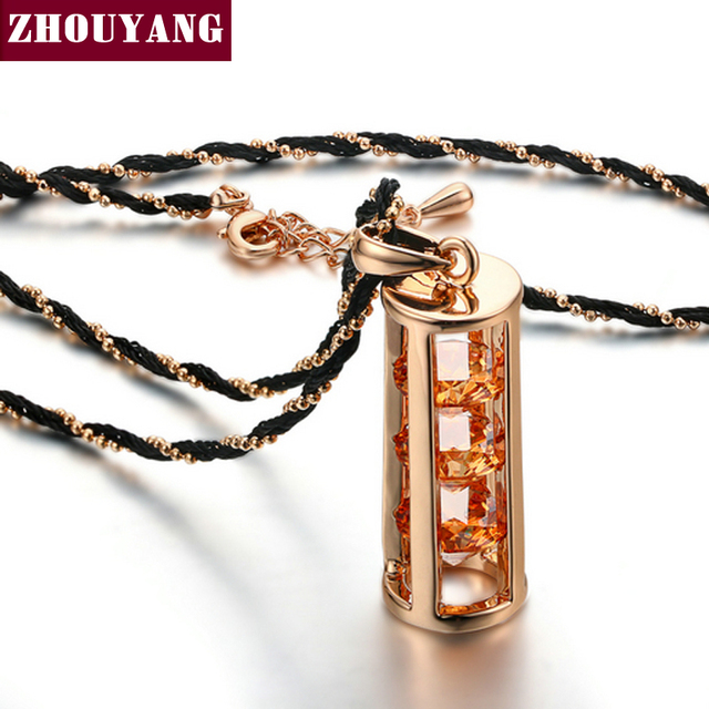 ZHOUYANG Top Quality ZYN115 Necklace Rose Gold Color Fashion Pendant Jewelry Made with Austria Crystal Wholesale