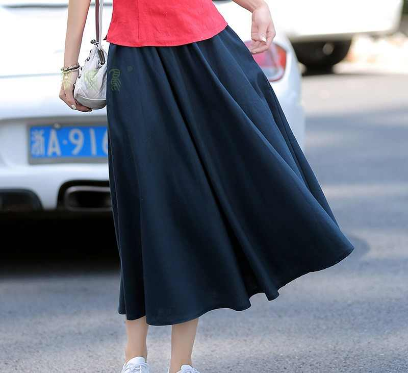 a68b4d7810 ... Shanghai Story Blend Linen Long Skirt Spring Summer Skirts Chinese Style  Bohemian Solid Skirts Casual Bandage ...