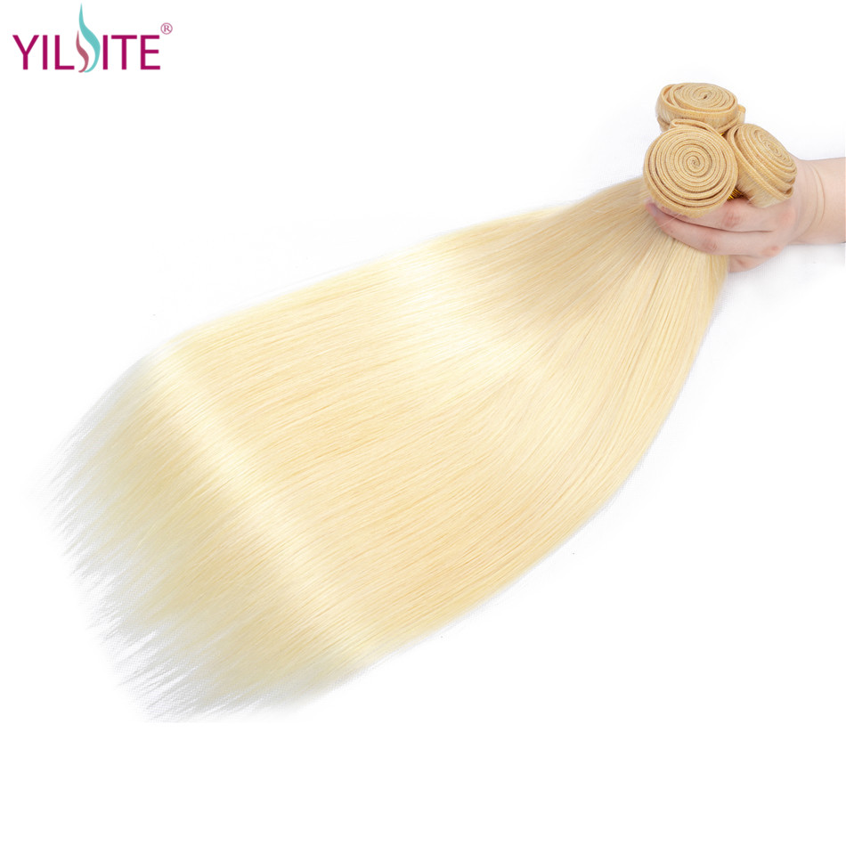 YILITE Straight Hair Extension 613 Honey Blonde Bundles 1 3 4 Bundles Mongolian Remy Hair Weave