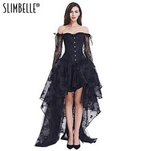 7518a3ee2eb (Ship from US) Women Vintage Steampunk Black Corset Dress Victorian Retro Gothic  Corset Top Burlesque Lace Corset and Bustiers Party Dress