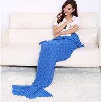 Free PP Kids Adult Fish Scale Mermaid Tail Crocheted Sofa Knit Lapghan Blanket Quilt Rug Mermaid Tail Cosplay Costumes Halloween