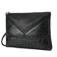 Hợp thời trang của Nam Giới Thường Clutch Bag Crocodile Pattern Con Quái Vật Nhỏ Túi Messenger Kinh Doanh Túi Grab Bag Người Đàn Ông Có Được Túi với Của Họ tay