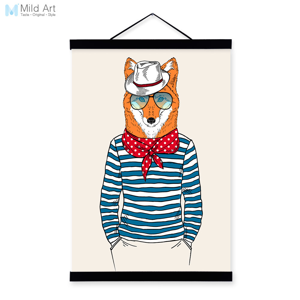 Fox Face Modern Fashion Gentleman Animal Portrait <font><b>Hipster</b></font> Framed Canvas Painting Wall Art Print Picture Poster Scroll <font><b>Home</b></font> <font><b>Decor</b></font>
