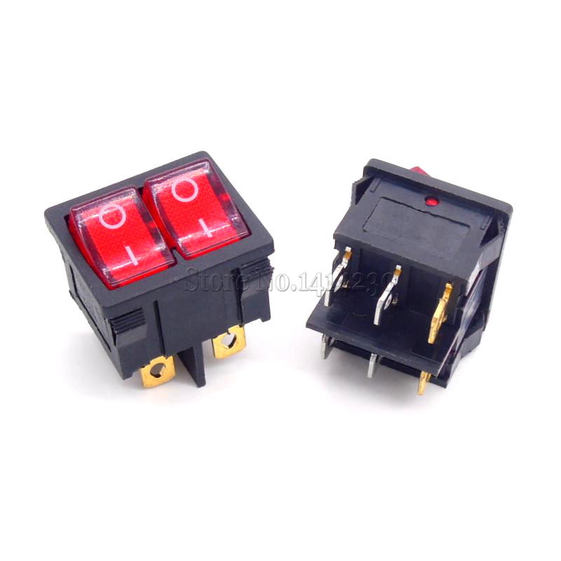 KCD5 21x24mm With Red Light Rocker Switches Two Way Switch 6 Pin 2 Position 6A 12A aliexpress com buy kcd5 21x24mm with red light rocker switches  at metegol.co