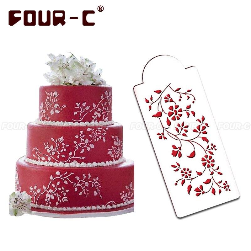 Cake Design Utensils : Chintz Floral Cake Side stencils,cake craft stencils ...