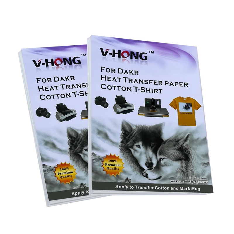 V-HONG Dark Color Cotton T-shirt Sublimation Paper Clothes A4 Heat Transfer Paper For Inkjet