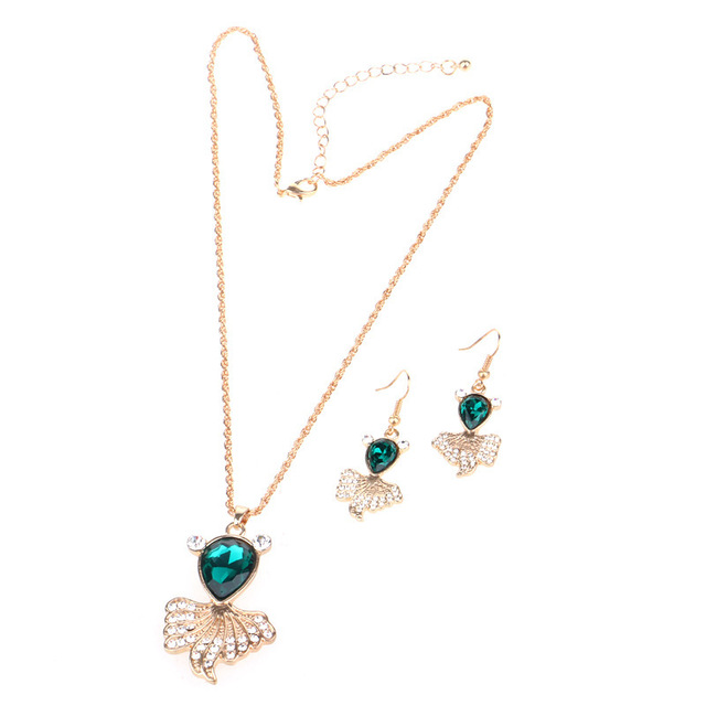 Fashion Jewelry goldfish rhinestone monogram necklace and earrings alloy insert piece suit three colors summer style